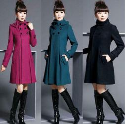 Winter Women Warm Wool Lapel Trench Parka Coat Jacket Long S
