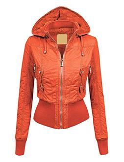 Made By Johnny WJC1004 Womens Casual Inner Fleece Bomber Jac