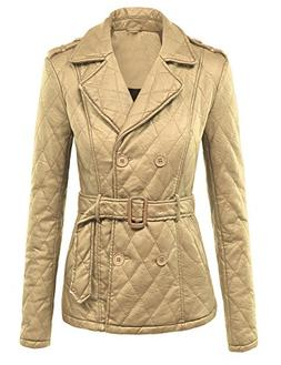 Made By Johnny WJC1006 Womens Faux Leather Inner Fleece Pea
