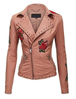 Made By Johnny WJC1495 Womens Floral Embroidered Faux Leathe