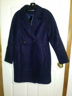 Allegra K Woman's Pea Coat Blue Small