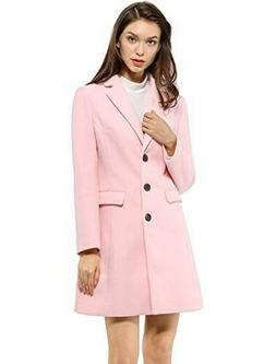 Allegra K Womans's Notched Lapel Single Breasted XS Pink Coa
