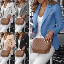 Women Button Slim Fit Blazer Casual OL Work Jacket Long Slee