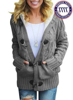32cf3838febc2 Sidefeel Women Button Up Cardigan Knit Hooded Cable Sweater