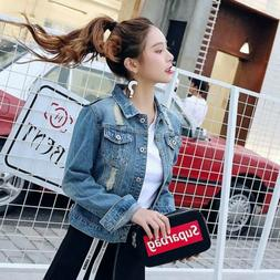 Women Denim Jacket Jeans Trucker Coat Outerwear Girls Fashio
