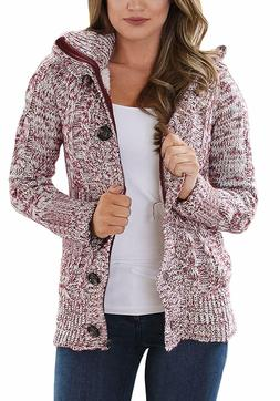 Sidefeel Women Hooded Knit Cardigans Button Cable Sweater Co