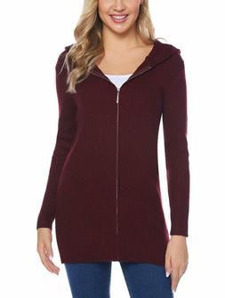 Abollria Women Hooded Knit Cardigans Zip up Cable Sweater Co