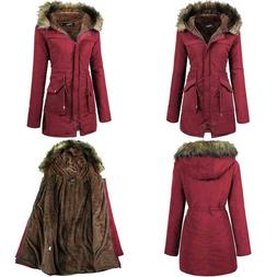 Iclosam Women Hooded Warm Long Coats Faux Fur Lined Parka An