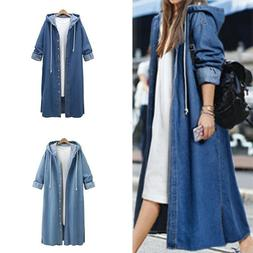 Women Hoodie Denim Long Coat Long Sleeve Loose Hooded Outwea