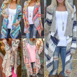 Women Irregular Waterfall Cardigan Sweater Poncho Shawl Coat