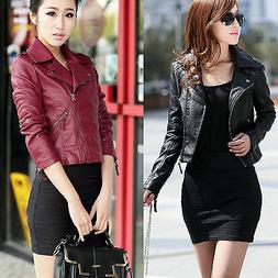 Fashion Women Ladies Jacket Coats Zip Up Biker Flight Casual