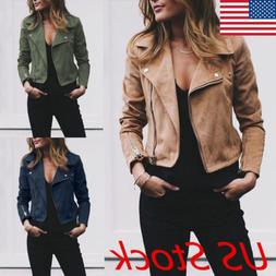 women ladies leather jacket coats zip up