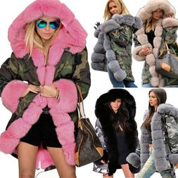 Roiii Women Ladies Winter Warm Coat Hooded Pink Faux Fur Par