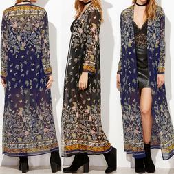 ZANZEA Women Long Sleeve Kimono Vintage Cardigan Outwear Sum