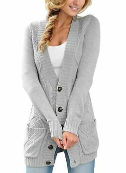 7d72c64d1e52b Sidefeel Women Open Front Pocket Cardigan Sweater Button Dow