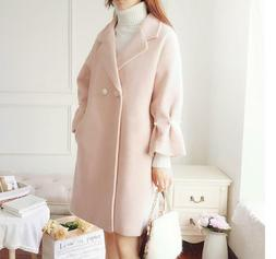Women Pink Wool Blend Lapel Double-breasted Parkas Trench Co