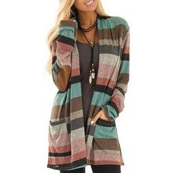 Women Plus Size Coat Long Sleeve Loose Cardigan Pocket Strip