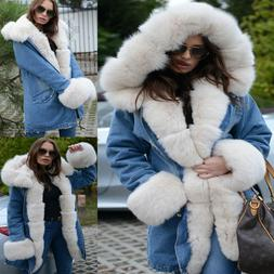 Roiii Women Plus Size Hooded Warm Winter Coats Faux Fur Line