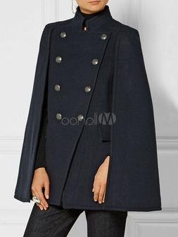 Women Poncho Peacoat Navy Woolen Double Breasted Cape Winter