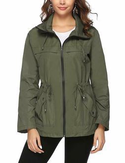Abollria Women Raincoats Lightweight Hooded Waterproof Outdo
