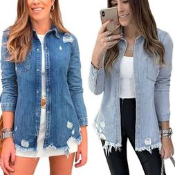 Women Ripped Denim Jeans Coat Jacket Ladies Long Sleeve Bagg