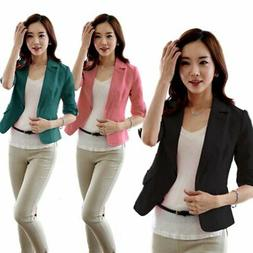 Women's 3/4 Sleeve Work Office Suits Outwear Lady Casual Bla