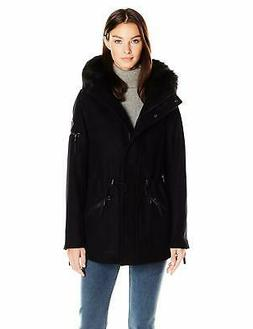 Calvin Klein Women's Anorak Wool Faux Fur Trimmed Coat - Cho