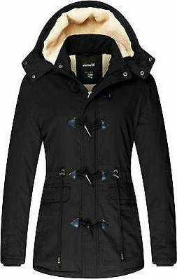 Wantdo Women's Black Size XL Sherpa Lined Toggle Winter Coat