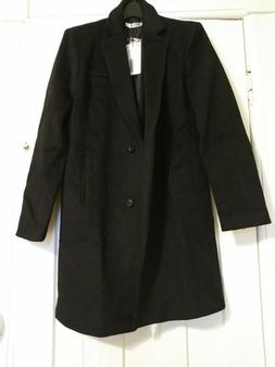 Doublju Women's Black Wool Blend Knee Length Coat, Size L