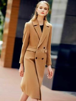Women's Camel Pea Coat Long Sleeve Notch Collar Wool Coats N