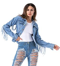 mewow Women's Casual Button Front Long Sleeve Denim Jacket T