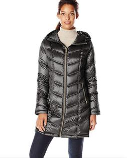 Calvin Klein Women's Chevron Packable Down Coat, Black, Larg