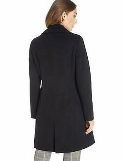 Calvin Klein Women's Classic Cashmere Wool Blend Coat, BLACK