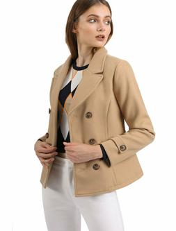 Allegra K Women's Classic Notched Lapel Double Breasted Pea
