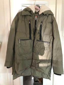 Orolay Women's Coat Green Size XL Quilted Thickened Down Hoo