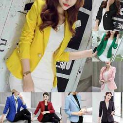 Women's Coat Slim Blazer Long Sleeve Jacket Short Formal Cas