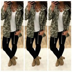 Womens Coats Camo Open Front Long Sleeve Fall Causal Cardiga