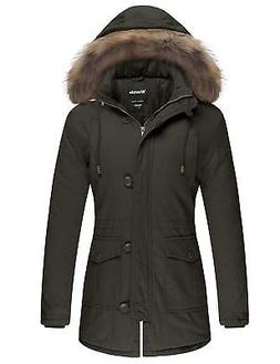 Wantdo Women's Cotton Padded Parka Coat with Removable Fur H