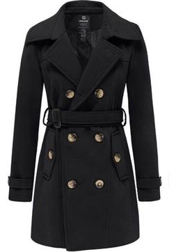 WANTDO WOMEN'S DOUBLE BREASTED PEA COAT TRENCH JACKET BLACK