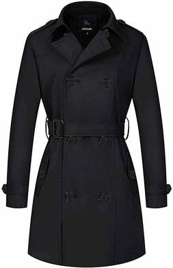 Wantdo Women's Double-Breasted Trench Coat with Belt, Black,