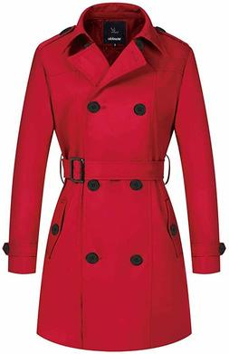 Wantdo Women's Double-Breasted Trench Coat with Belt, Red, S