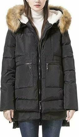 Women's Down Coat with Fur Hood with 90% Down Parka Puffer J