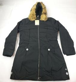 Orolay Women's Down Jacket with Faux Fur Trim Hood,  Black,