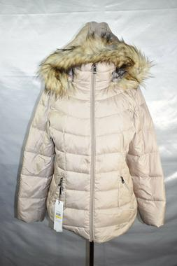 Calvin Klein Women's Down Puffer Coat, Faux Fur Hooded, Beig