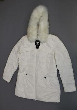 Valuker Women's Faux Fur Hood Quilted Down Coat AB3 White Si