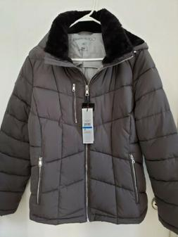 Calvin Klein Women's Faux-Fur-Lined Hooded Puffer Coat Jacke