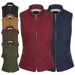Women's Faux Fur Lined Quilted Padding Zip Up Vest  Jackets