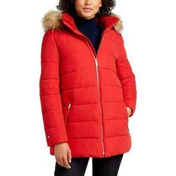 Tommy Hilfiger Women's Faux Fur Trimmed Quilted Warm Winter