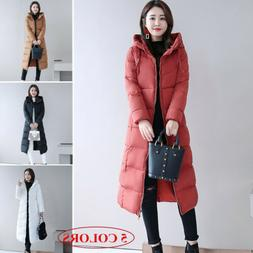 Women's Hooded Outerwear Long Down Jacket Quilted Parka Wint