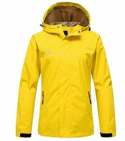 Wantdo Women's Hooded Windproof Rain Jacket Yellow Outerwear